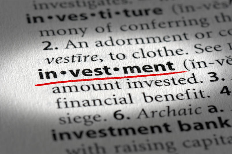 Investment text and definition royalty free stock image