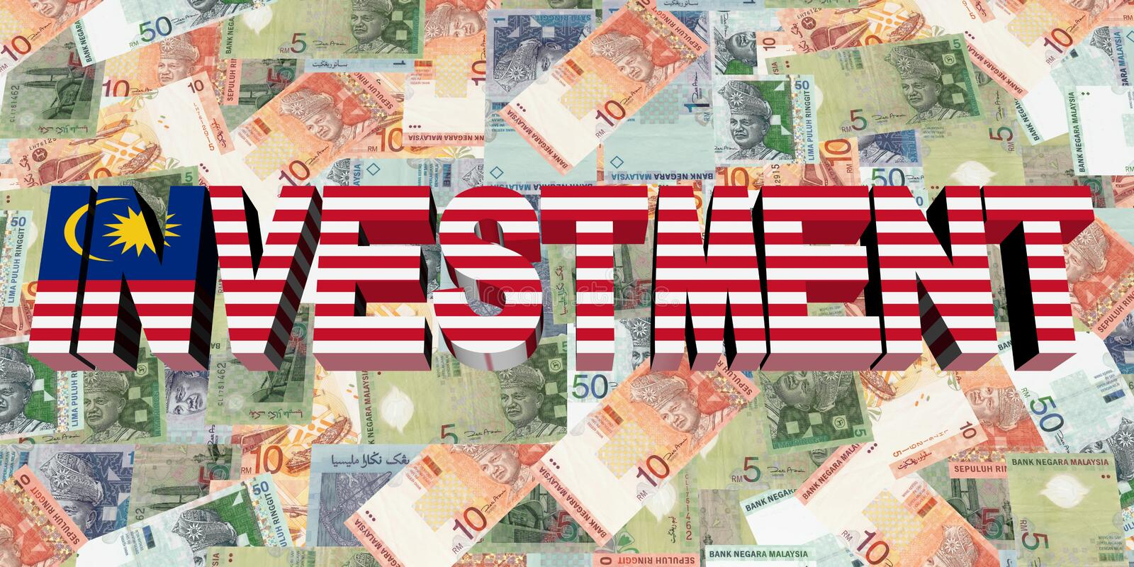 Investment text with Malaysian flag on currency illustration royalty free illustration