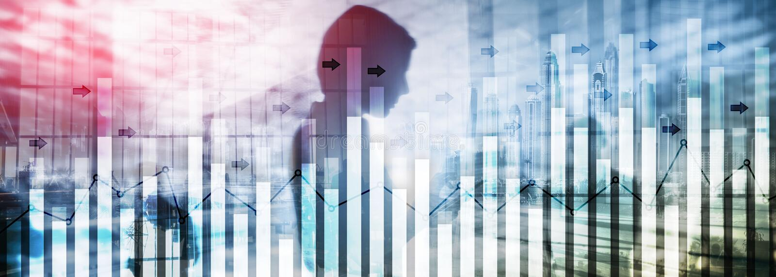 Investment trading financial analysing forex currency economy growth abstract background business people modern city.  stock image