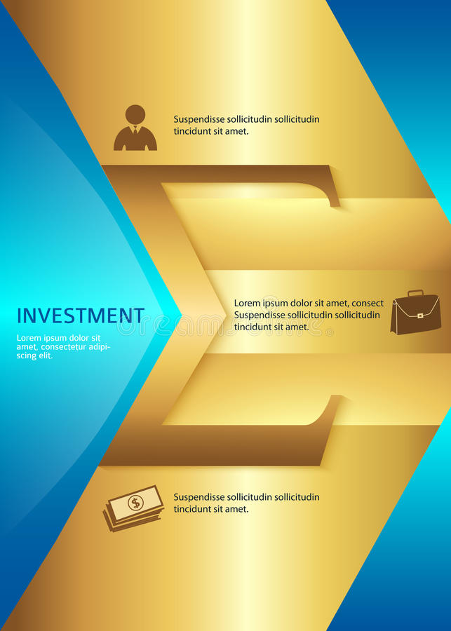 Investment vertical format A4 leaflet page presentation. Business corporate template vector illustration EPS 10. Abstract background for chart process service stock illustration