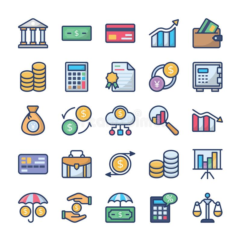 Investments and finance icons pack royalty free illustration