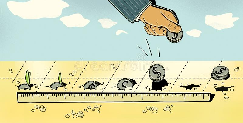 Investments. A man puts dollar coins into the ground. Germination of coins and profit.  stock illustration
