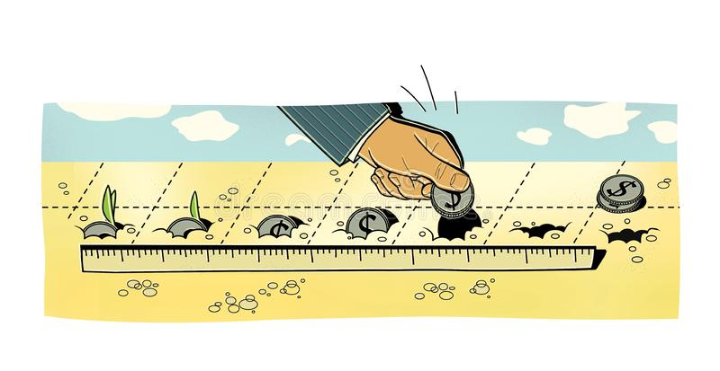 Investments. A man puts dollar coins into the ground. Germination of coins and profit.  royalty free illustration
