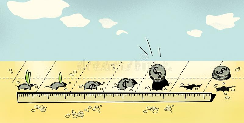 Investments. Puts dollar coins into the ground. Germination of coins and profit.  royalty free illustration