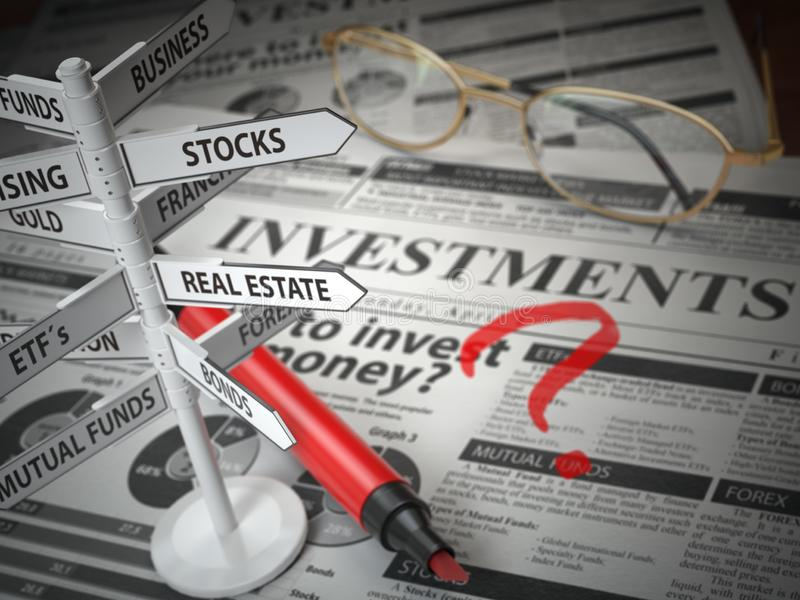 Investmments und Anlagegutverteilungskonzept Wo man investiert? Nachrichten vektor abbildung