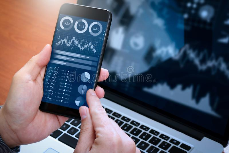 Investor analyzing stock market report and financial dashboard with business intelligence BI, royalty free stock images