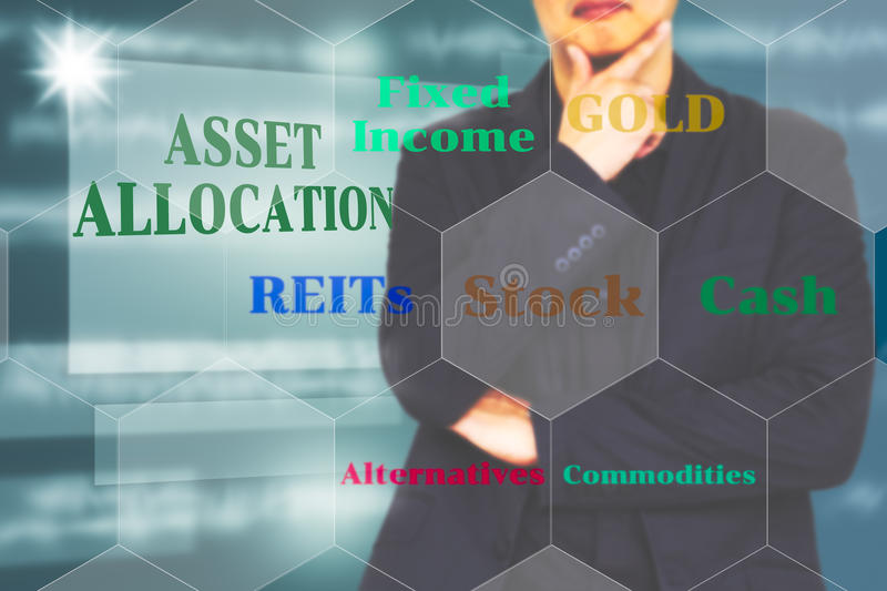 The investor with the Asset allocation presentaion on Virtual. Image of finance and investment Management, The investor with the Asset allocation presentaion on stock photo