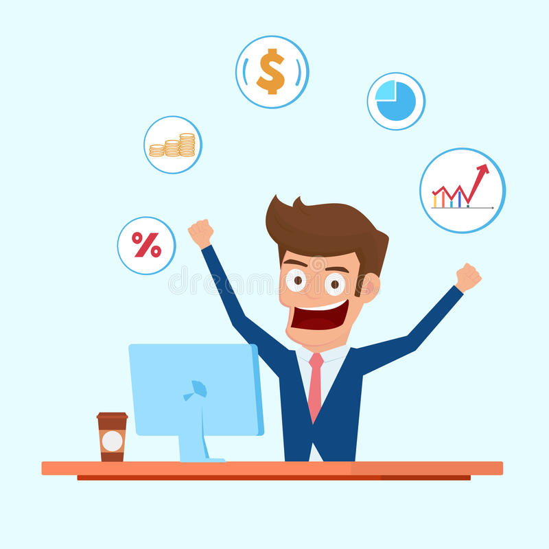 Investor character. Businessman working on desktop computer with financial icons. Cartoon Vector Illustration vector illustration