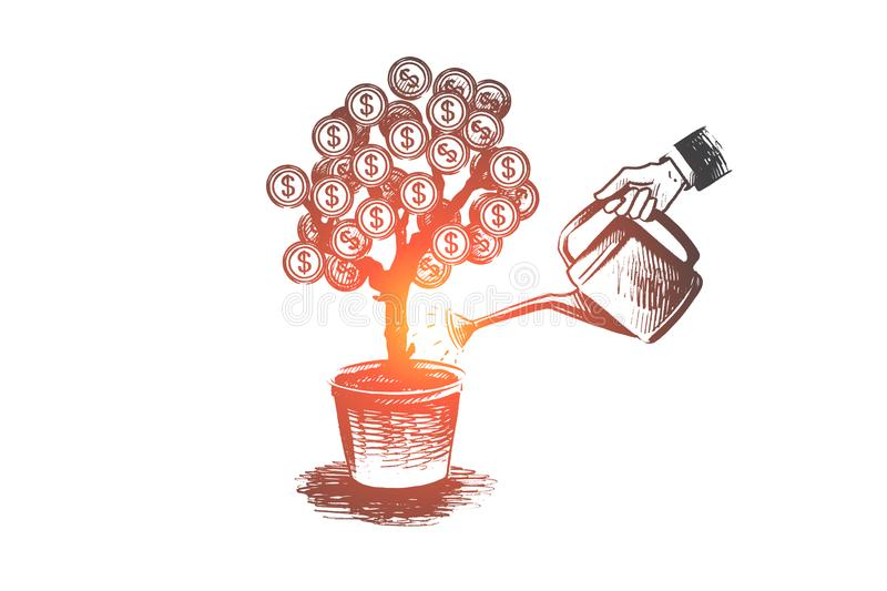 Investor, finance, money, growth concept. Hand drawn isolated vector. Investor, finance, money, growth concept. Hand drawn investor watering money tree for vector illustration