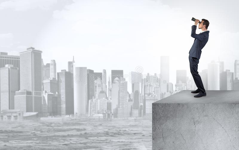 Investor looking to the city from distance royalty free stock image