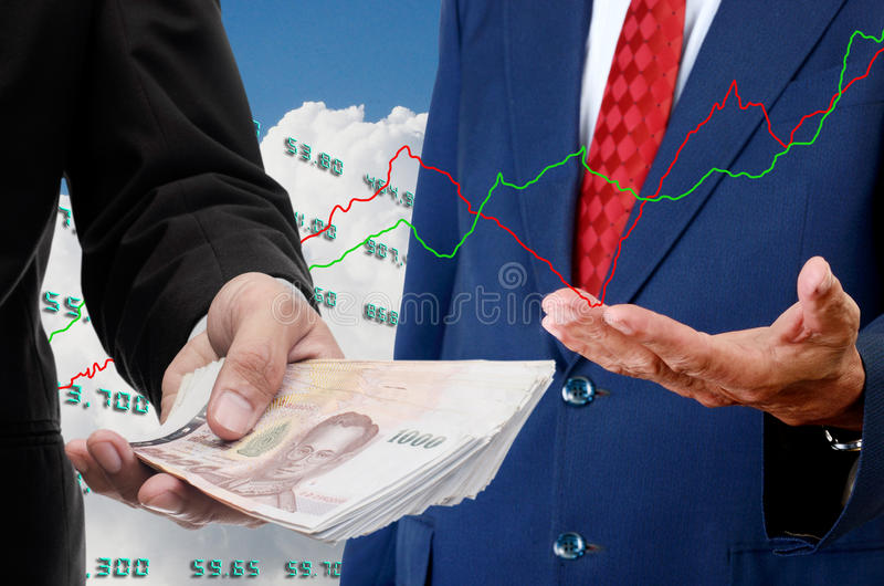 Investor make money from stock exchange royalty free stock image