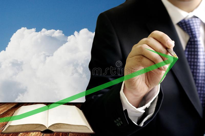 Investor show the growing up of education industrial graph royalty free stock photos
