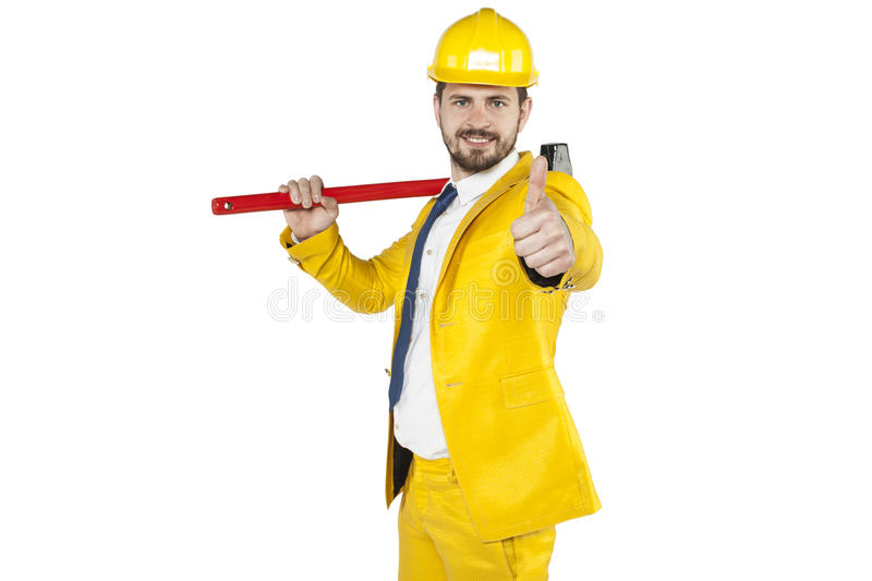 Investor shows thumb up. Business man stock images