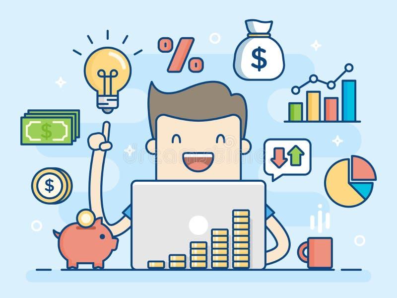 Investor. Smart Investment. Business Concept Illustration. stock illustration