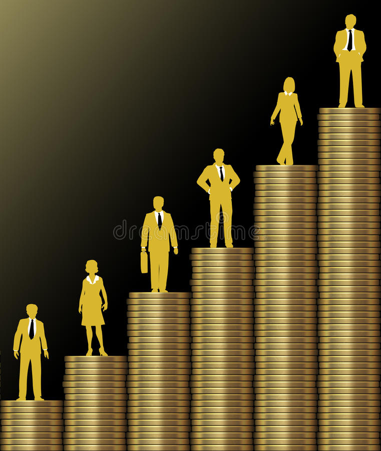 Investors grow wealth on gold coin stack chart