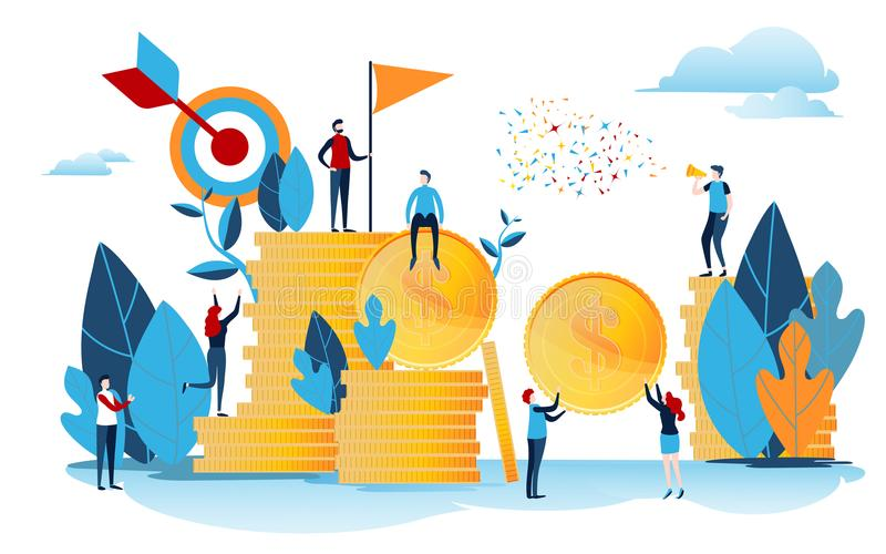 The investors holds money. Financing creative idea. Success concept. Businessman with gold coin. Start up project. Flat cartoon. Miniature character. Vector stock illustration