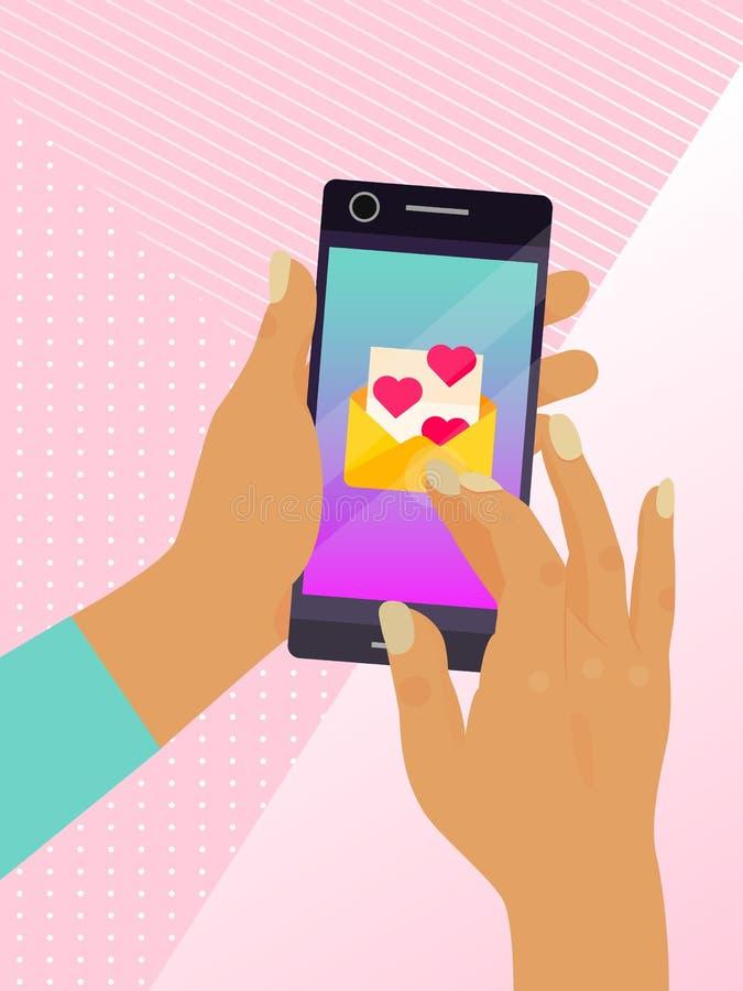 Inviando il messaggio di amore all'amante con la busta e l'illustrazione rosa di vettore del manifesto dei cuori Contatto dello s illustrazione di stock