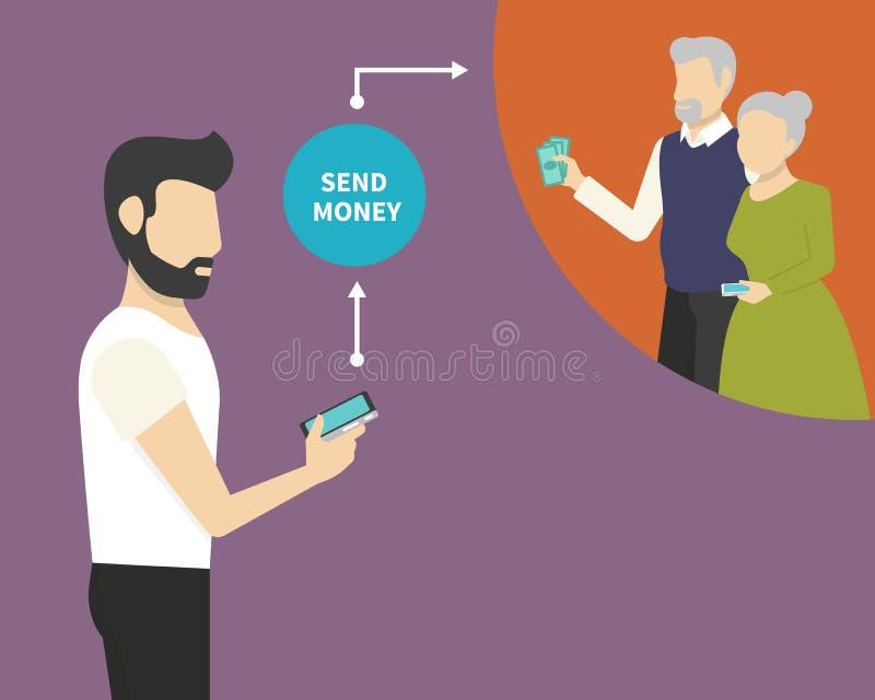 Inviando soldi tramite telefono cellulare illustrazione di stock