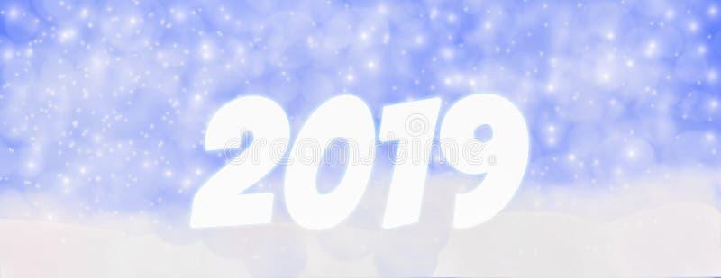 Invierno al aire libre con los copos de nieve que caen, Panor de la Feliz Año Nuevo 2019 fotografía de archivo