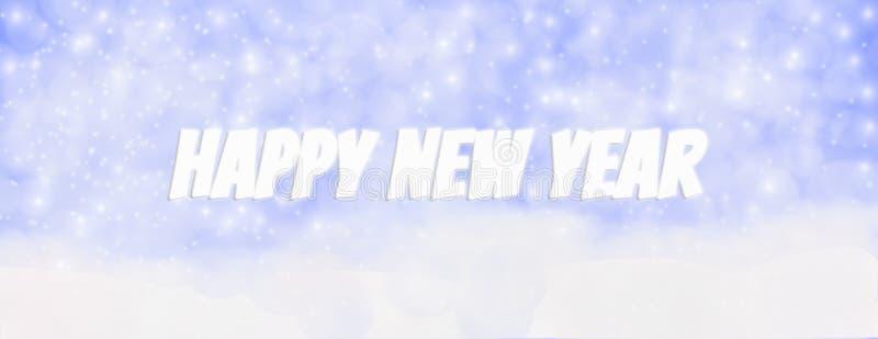 Invierno al aire libre con los copos de nieve que caen, Panor de la Feliz Año Nuevo 2019 imagenes de archivo
