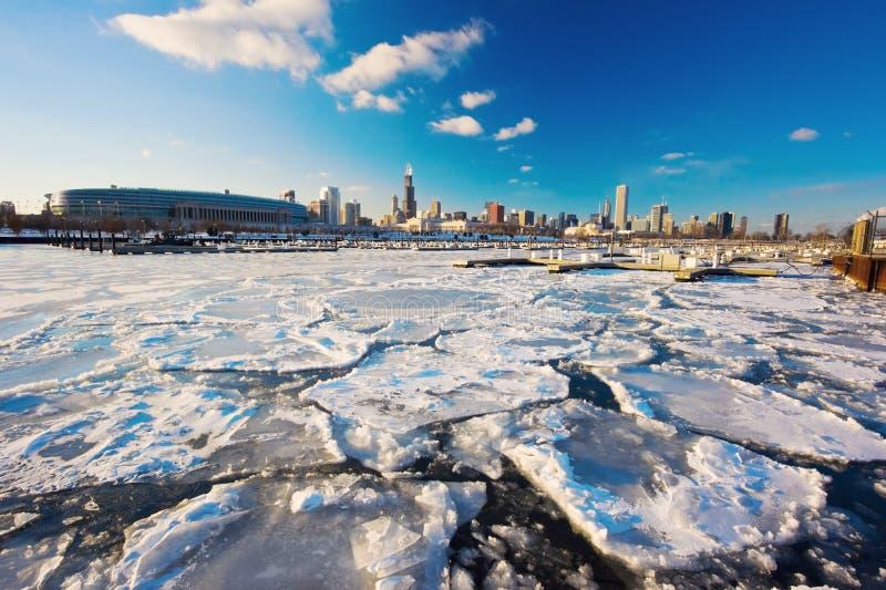 Invierno amargo en Chicago fotografía de archivo libre de regalías