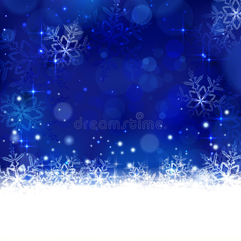 Invierno azul, fondo de la Navidad con los copos de nieve, estrellas y shi libre illustration