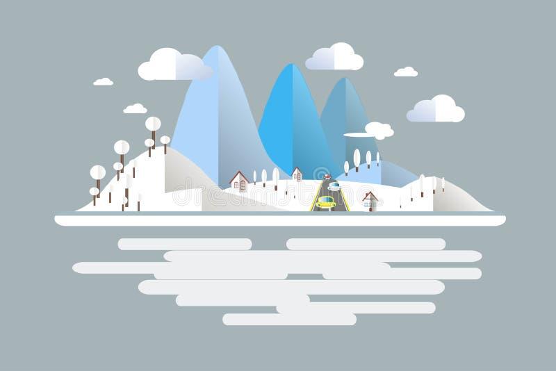Invierno, azul, paisaje blanco de la montaña, coches en el camino Diseño plano moderno ilustración del vector