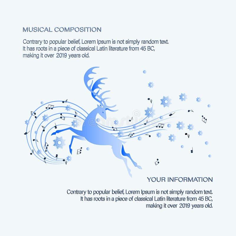 Invierno Ciervos corrientes Composición musical stock de ilustración