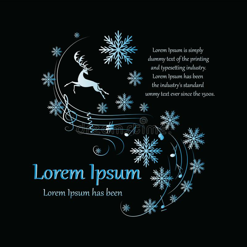 Invierno Ciervos corrientes en un fondo negro Cartel, una postal con un ciervo, notas, copos de nieve y un lugar para el texto Di libre illustration