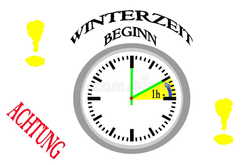 Invierno, conversión del tiempo ilustración del vector