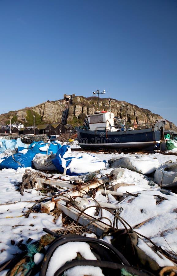 Invierno de Hastings de la industria del barco de pesca del barco rastreador fotografía de archivo