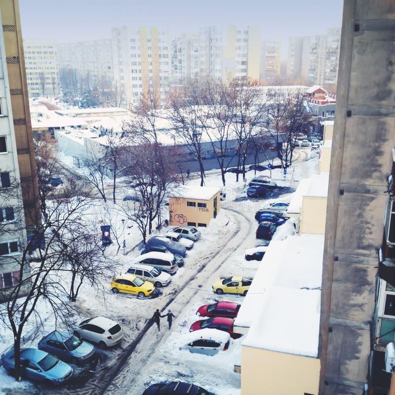 Invierno de la ciudad imagenes de archivo