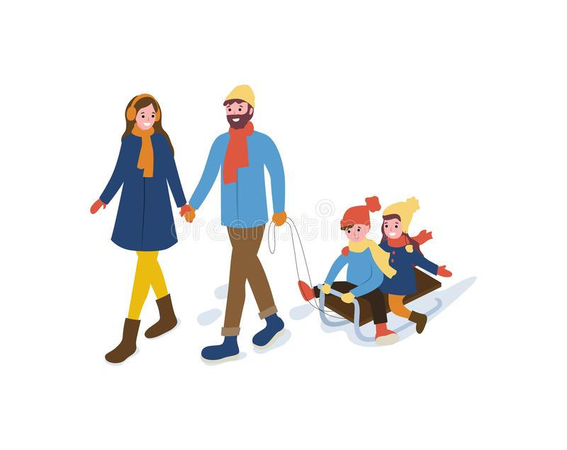 Invierno de la familia que va al aire libre con vector del trineo libre illustration