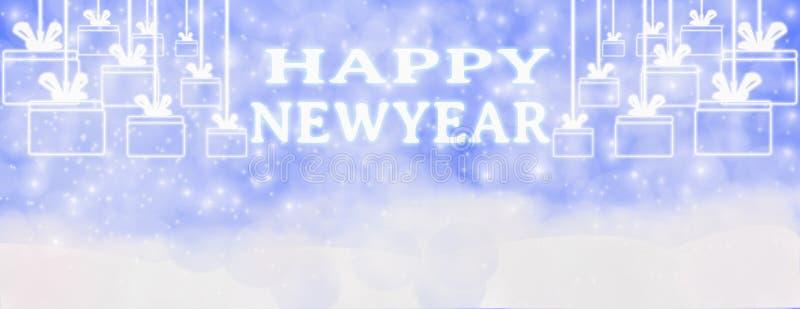 Invierno de la Feliz Año Nuevo al aire libre con los copos de nieve que caen, y hangi libre illustration