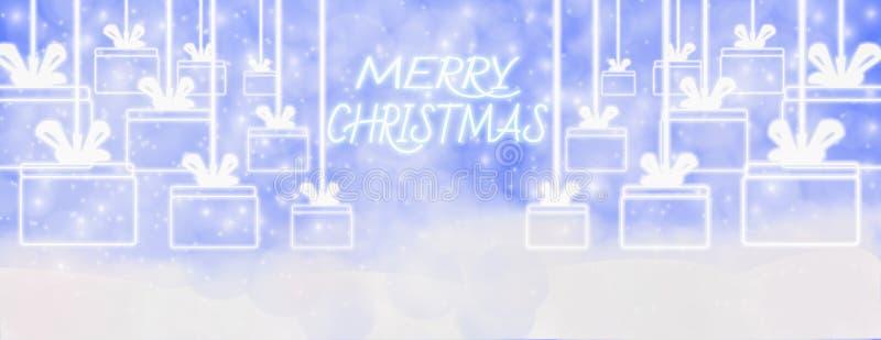 Invierno de la Feliz Navidad al aire libre con los copos de nieve que caen, y caída ilustración del vector