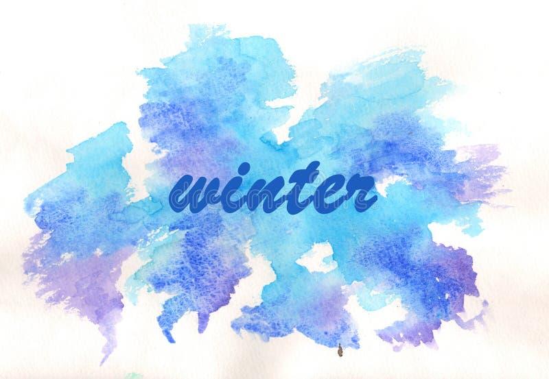 Invierno de la inscripción tarjeta watercolor stock de ilustración