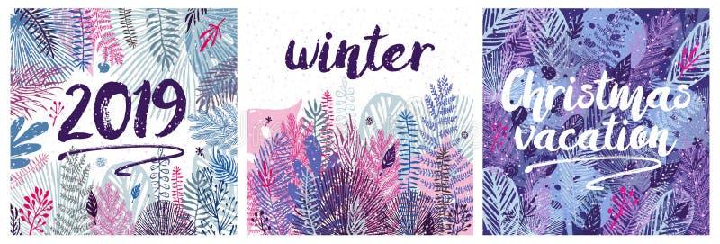 Invierno de la Navidad fijado con las hojas y las inscripciones Gran elemento del diseño, ejemplo del vector, diseño de la planti ilustración del vector