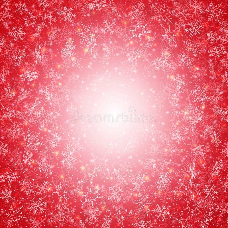 Invierno de la Navidad roja con el círculo del modelo de los copos de nieve detrás libre illustration