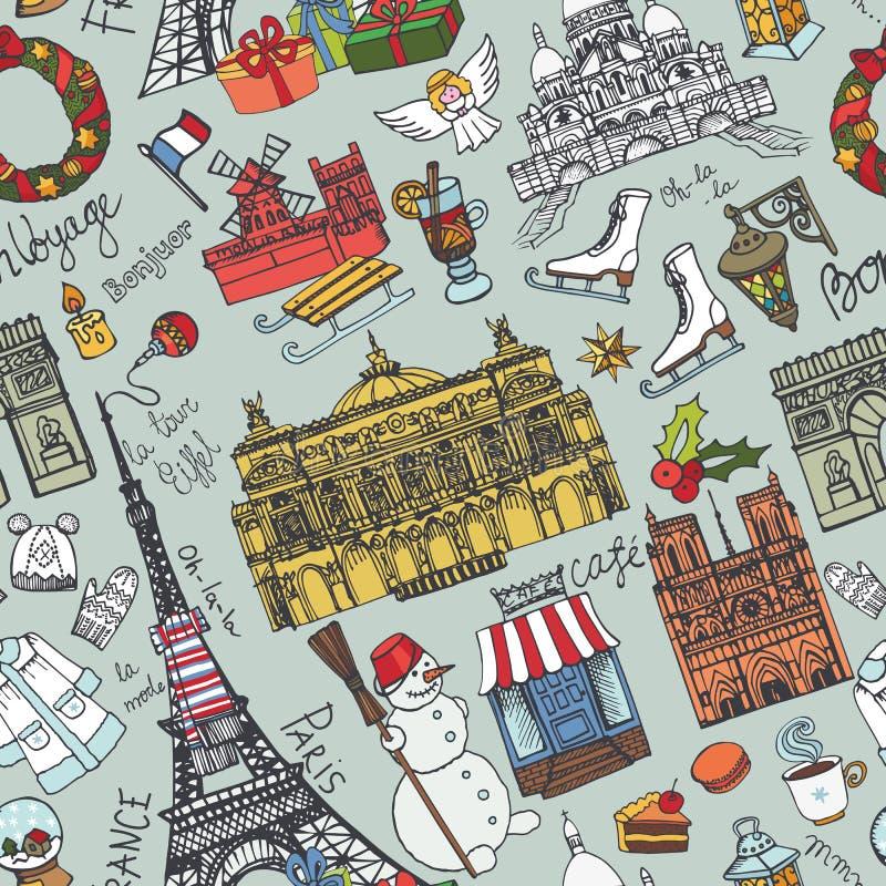 Invierno de París, modelo inconsútil de las señales del garabato color libre illustration