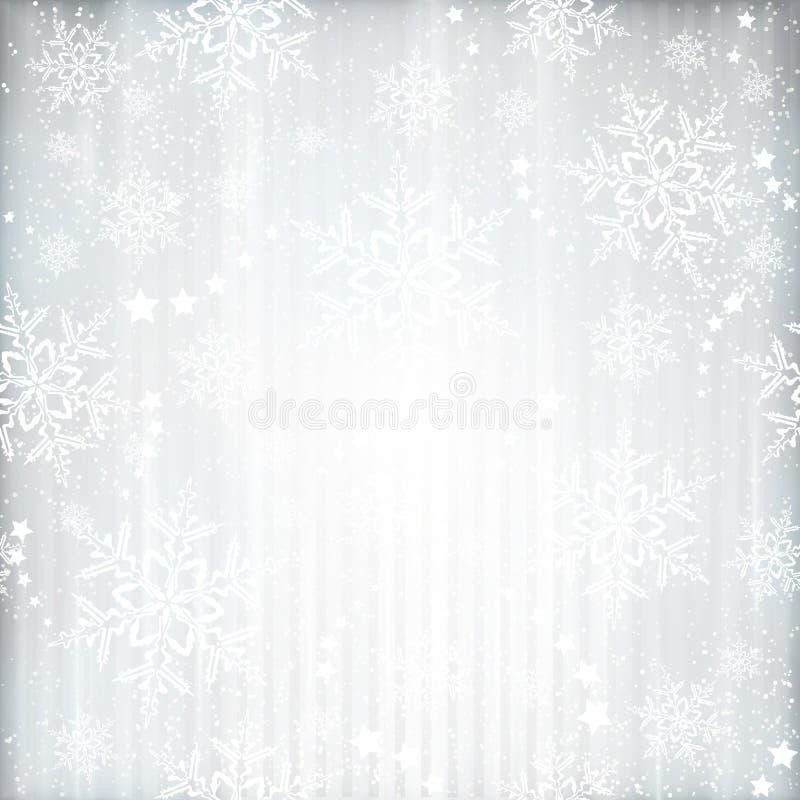 Invierno de plata, fondo de la Navidad con el modelo de estrella del copo de nieve ilustración del vector