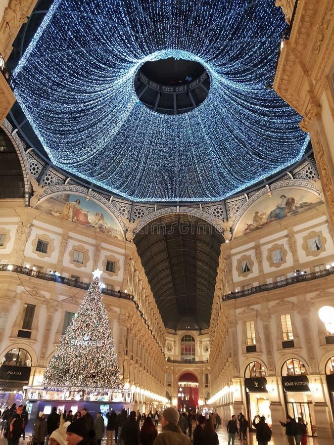 Invierno del árbol de navidad de Milano de los di del duomo de Manuel del vittorio del Galleria foto de archivo libre de regalías