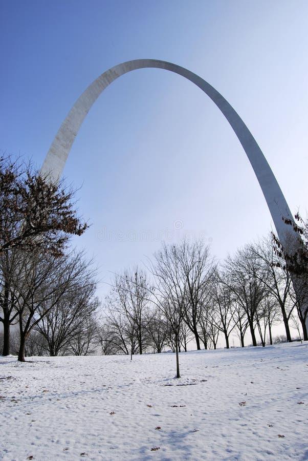 Invierno del arco del Gateway de St. Louis foto de archivo libre de regalías
