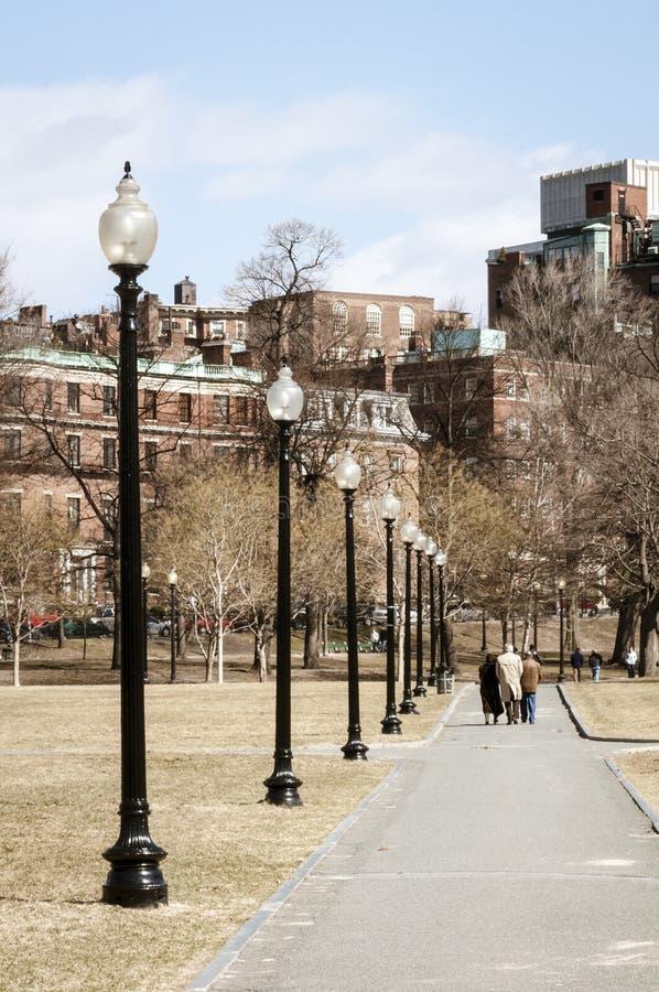 Invierno del campo común de Boston de la gente imagenes de archivo