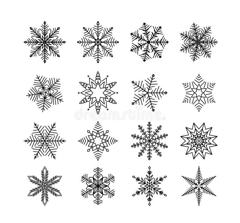 Invierno del copo de nieve Sistema de la escama de la nieve en el fondo blanco stock de ilustración