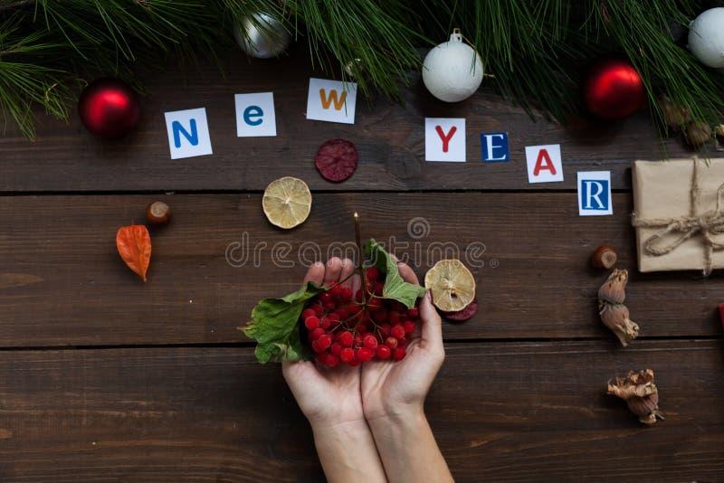Invierno del día de fiesta de la decoración de la decoración de los regalos del Año Nuevo del árbol de navidad del fondo de la Na imagen de archivo libre de regalías