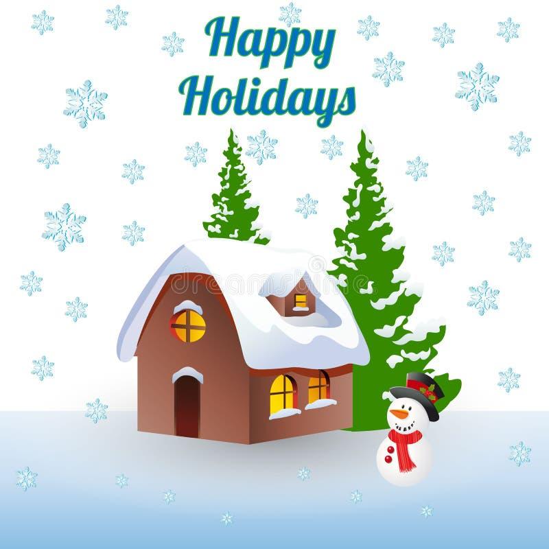 Invierno del ejemplo de la Navidad, casa en el bosque y un snowma ilustración del vector