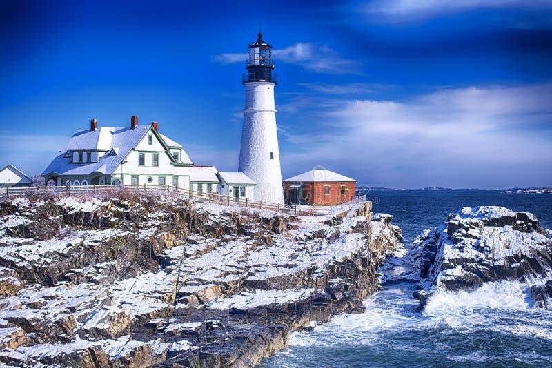 Invierno del faro de Portland Maine Headlight foto de archivo libre de regalías