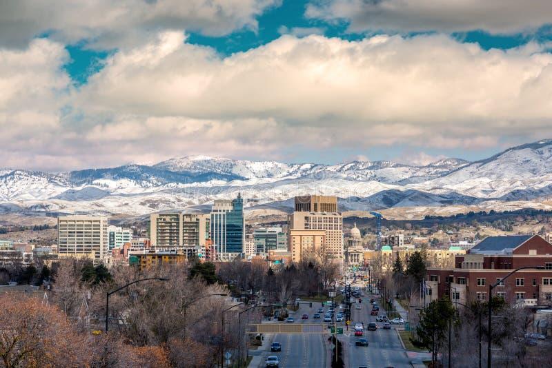 Invierno del horizonte de Boise City con nieve foto de archivo libre de regalías