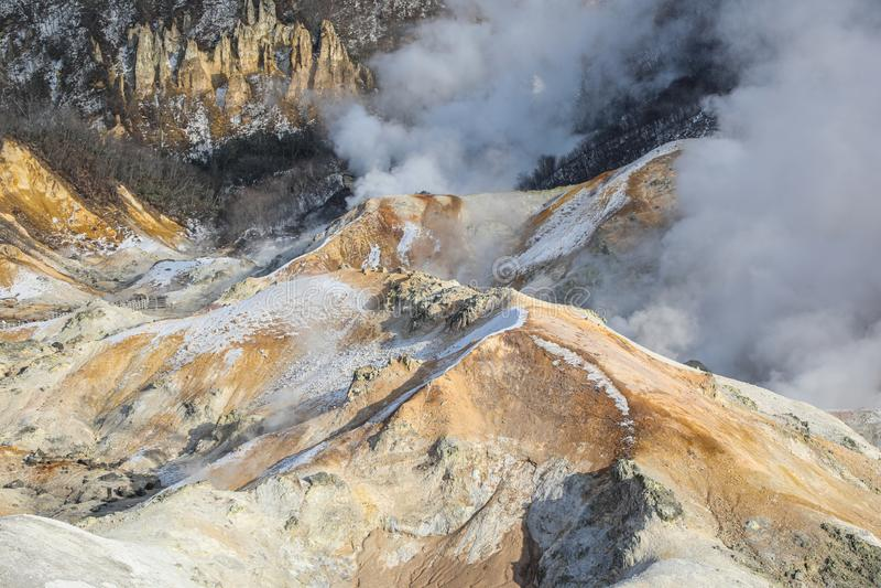 Invierno del jigokudani, el valle del infierno situado en Hokkaido, Japón foto de archivo libre de regalías