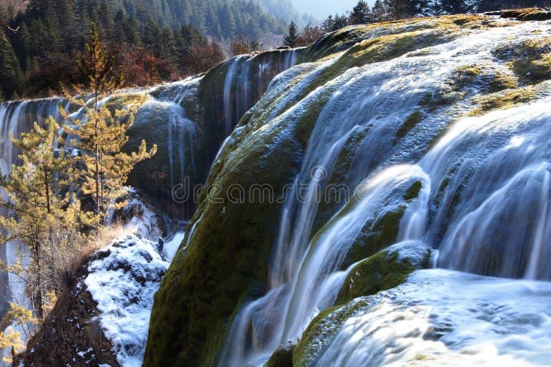 Invierno Del Valle Del Jiuzhai De La Cascada Del Bajío De La Perla Imagen de archivo libre de regalías